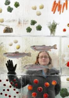 Povrće u bloku leda postalo umjetničko djelo