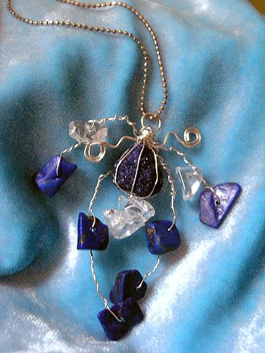 Terapeutski nakit - Kristalni privjesak - Plava atlantis amajlija