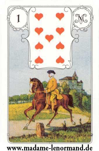Lenormand karte - Konjanik/Srce 9