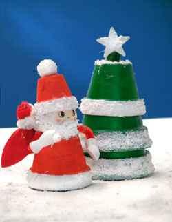 Božićni ukrasi - DJED MRAZ OD TEGLICA