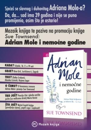 pozivnica za promociju romana SUE TOWNSEND: ADRIAN MOLE I NEMOĆNE GODINE