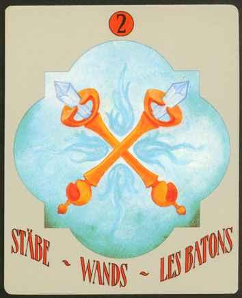 Deva Tarot - Božanski Tarot - Štapovi -  dvojka štapova