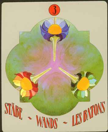 Deva Tarot - Božanski Tarot - Štapovi -  trojka štapova
