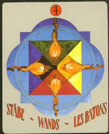 Deva Tarot - Božanski Tarot - Štapovi -  četvorka štapova