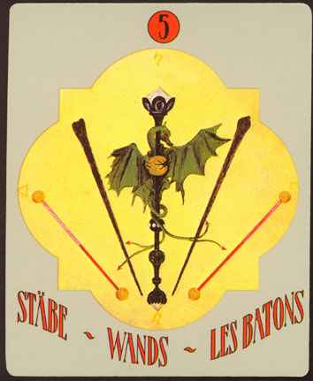 Deva Tarot - Božanski Tarot - Štapovi -  petica štapova