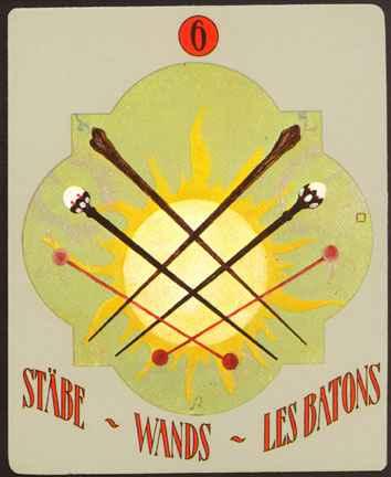 Deva Tarot - Božanski Tarot - Štapovi -  šestica štapova