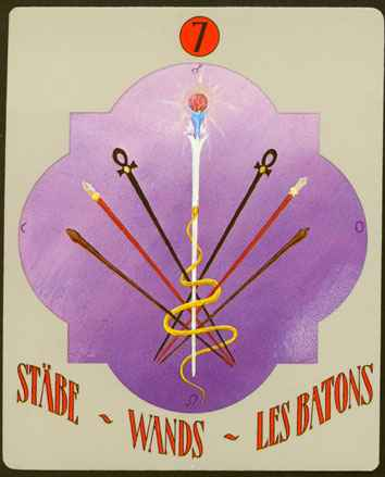Deva Tarot - Božanski Tarot - Štapovi - sedmica štapova