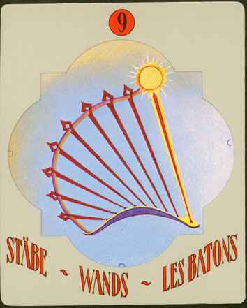 Deva Tarot - Božanski Tarot - Štapovi -  devetka štapova