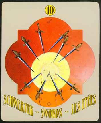 Deva Tarot - Božanski Tarot - Štapovi -  desetka štapova
