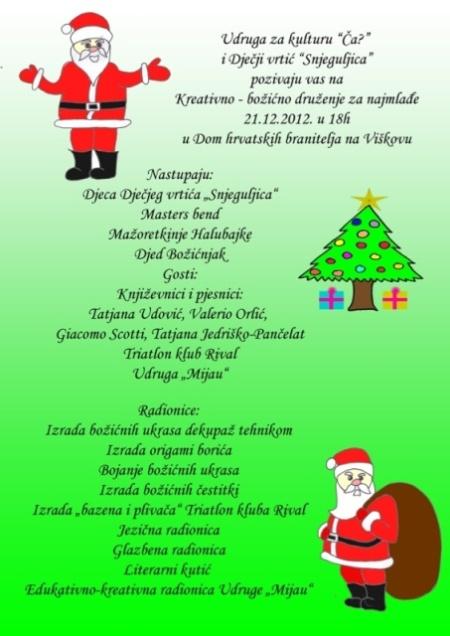 Pozivnica za Kreativno - božićno druženje za najmlađe