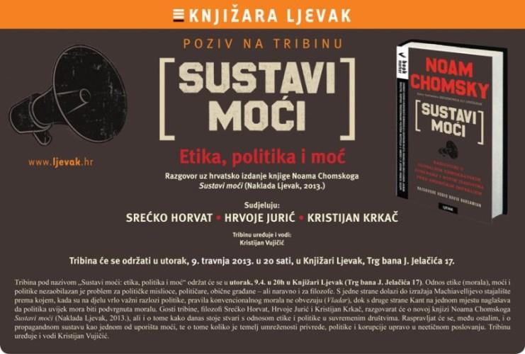 Poziv na TRIBINU: SUSTAVI MOĆI, Etika, politika i moć - Knjižara Ljevak, 9. travnja 2013. u 20 sati