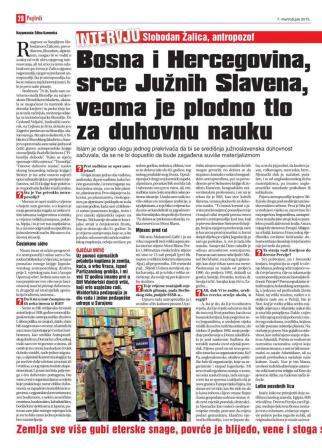 Bosna i Hercegovina, srce Južnih Slavena, veoma je plodno tlo za duhovnu nauku