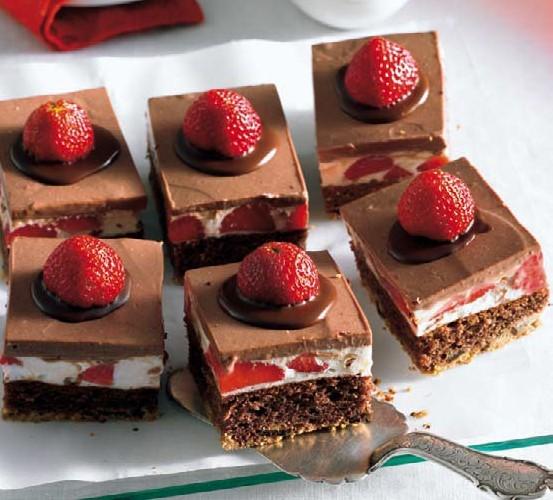 Čokoladne ploške s jagodama
