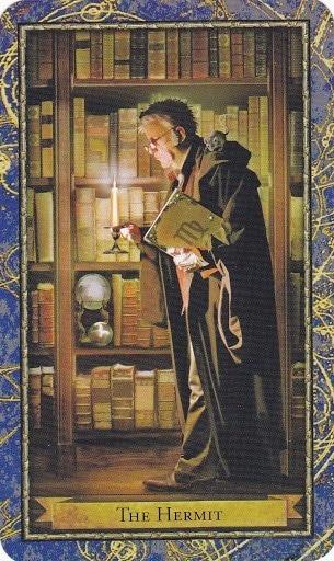 Čarobnjački tarot - Pustinjak (Alkemičar, magija cvijeća, knjige o alkemiji i magija svijeća)