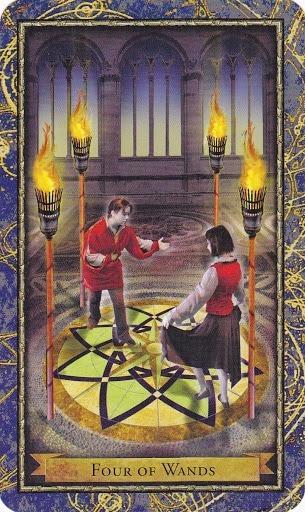 Čarobnjački tarot - 4 štapova (Snaga čuda - karta suradnje)