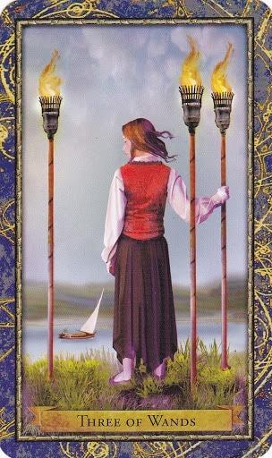 Čarobnjački tarot - 3 štapova (Snaga čuda - iščekivanja i nade)