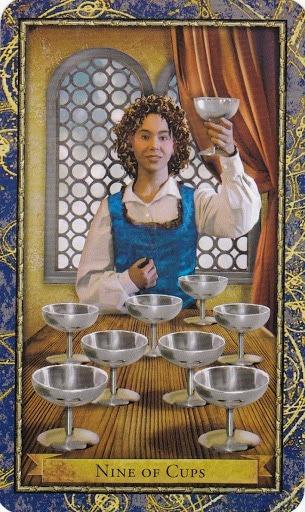 Čarobnjački tarot - 9 pehara (Snaga čuda - druženje, sastanci, veselje)