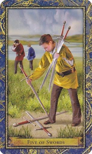 Čarobnjački tarot - 5 mačeva (Snaga čuda - sukob, pobjeda ili poraz)