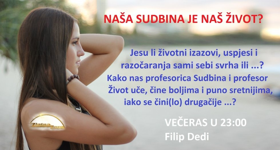Najava večerašnje emisije. Live stream na www.ZlatnaZora.hr ili TV Jabuka.
