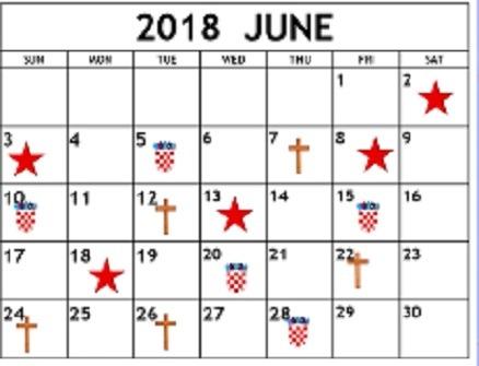 Prime Time - Kalendar praznika i blagdana u lipnju 2018.g.