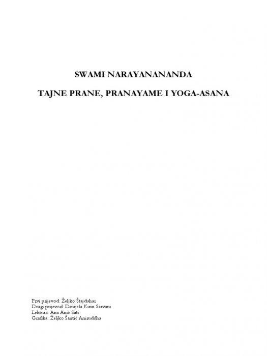 Narayanananda:Tajne Prane, Pranayame i Yoga Asana