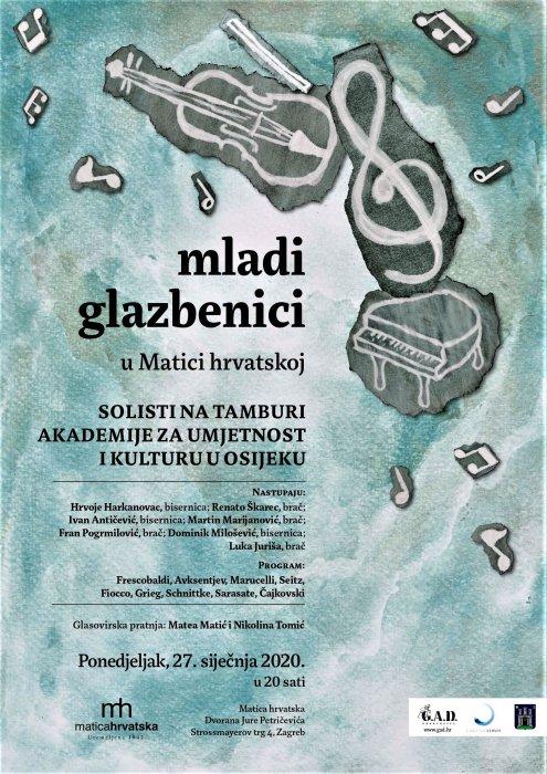 U ponedjeljak, 27.01.2020., Koncert u Matici Hrvatskoj u Zagrebu