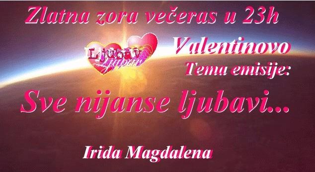 Zlatna zora večeras u 23h, tema emisije: Valentinovo, sve nijanse ljubavi + LJUBAVNI KOD za parove