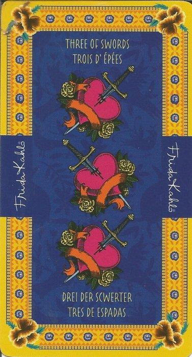 Frida Kahlo Tarot - MALE ARKANE - TROJKA MAČEVA