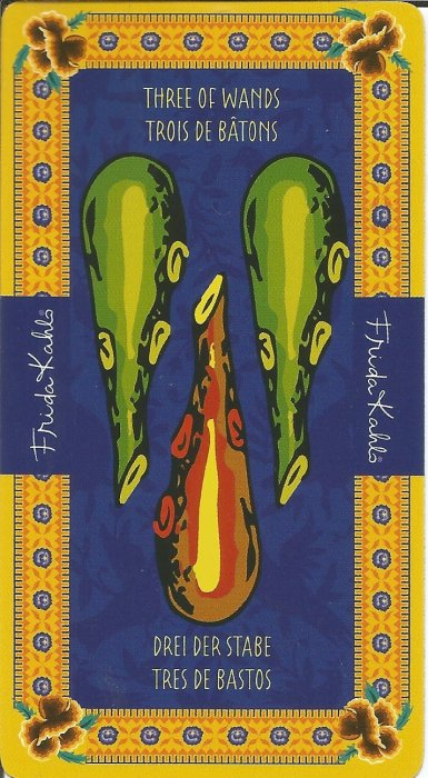 Frida Kahlo Tarot - MALE ARKANE - TROJKA ŠTAPOVA