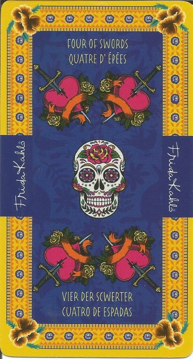 Frida Kahlo Tarot - MALE ARKANE - ČETVORKA MAČEVA