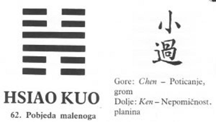 I CHING - 62.HSIAO KUO - Pobjeda malenoga