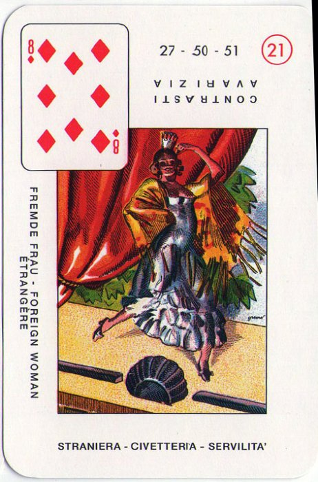 Velike Lenormandice - Osam karo (neznanka, čudna žena, koketa, servilnost)