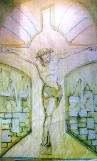Predložak za raspelo crkva Cernik - Grobnik - vitraž na oltaruCrtež Krist 205 x 100 cmaksslikLKIRACRunoval