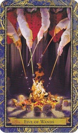 Čarobnjački tarot - 5 štapova (Snaga čuda - timski duh)