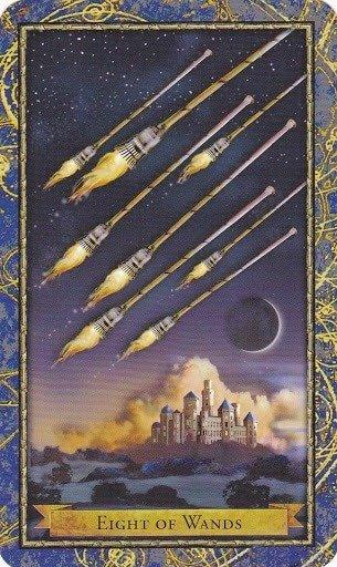 Čarobnjački tarot - 8 štapova (Snaga čuda - poruke iz daljine i brza komunikacija)