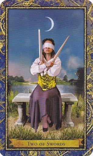 Čarobnjački tarot - 2 mačeva (Snaga čuda - teške odluke)