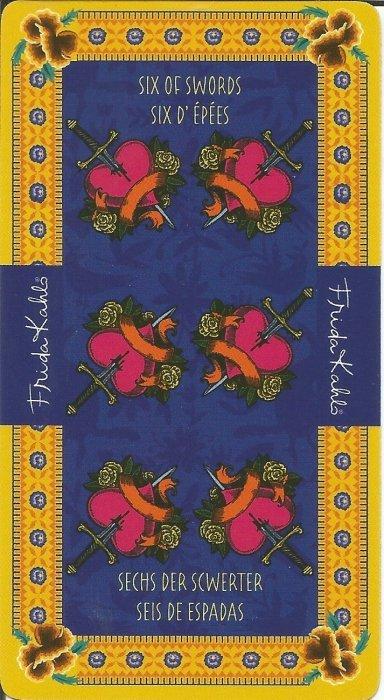 Frida Kahlo Tarot - MALE ARKANE - ŠESTICA MAČEVA