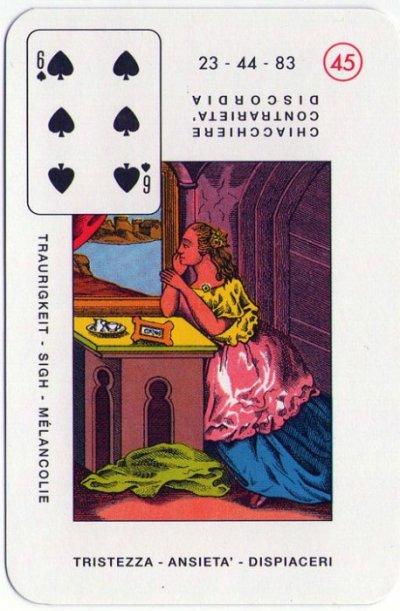Velike Lenormandice - Šest pika ( tuga, tjeskoba, očaj)