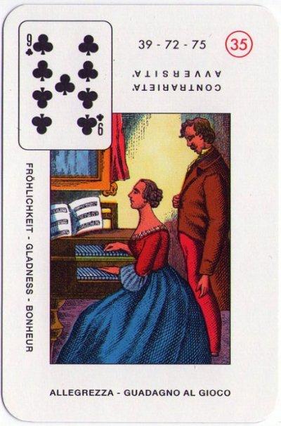 Velike Lenormandice - Devet trefa (veselje, dobit od kockanja)